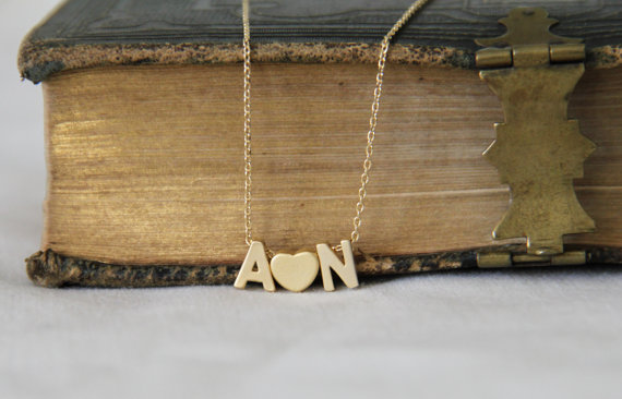 Gold Initial and Heart Necklace Personalized by Miaearrings