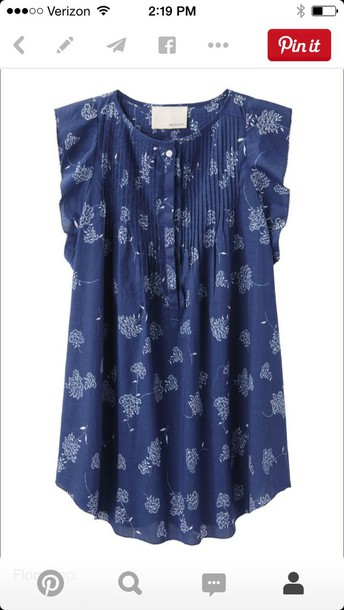 blouse blue shirt floral tank top floral shirt
