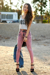 hapa time,tank top,jacket,bag,shoes,jeans,fashion,girl,denim,pnts,pink,skinny jeans,high waisted,high waisted jeans,acid wash jeans,acid wash,crop tops,white crop tops,outfit,fall outfits,spring