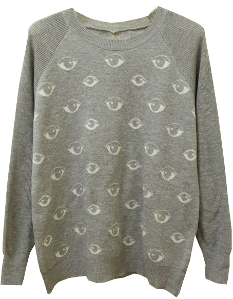 Grey Long Sleeve Eyes Pattern Knit Sweater - Sheinside.com