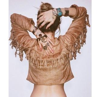 jacket leather jacket fringed jacket boho boho chic cowboy leather brown fringes