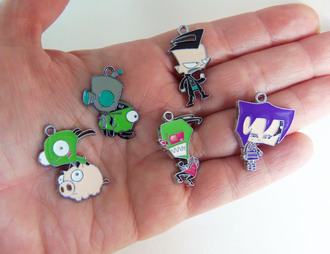 jewels bubblegum graffiti charms charm pendant pendnat jewelry supply jewelry supplies diy grunge soft grunge gir zim invader zim cartoon anime necklace charms bracelet charms zipper charms fan pull charms