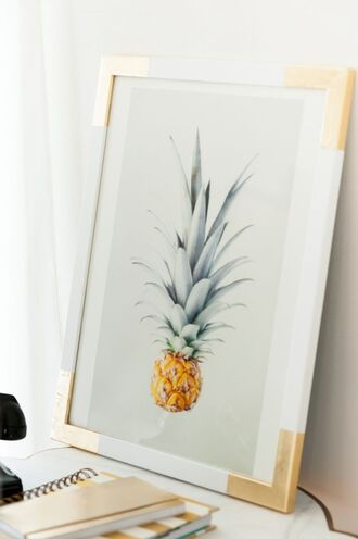 home accessory frame beach house poster gold pineapple wall decor diy