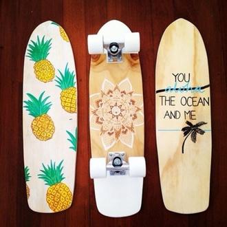 home accessory skateboard cute pineapple hola hawaiian cruiser decks