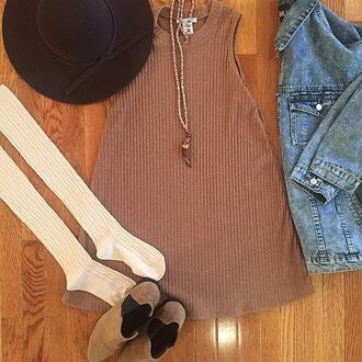 dress divergence clothing 90s dress vintage ribbed dress knee high socks over the knee socks floppy hat fall outfits tshirt dress t-shirt dress casual dress grunge oversized denim jacket grunge t-shirt