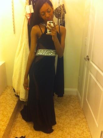 dress black silver prom mesh