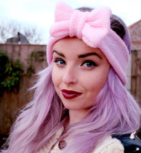 hair accessory pink pastel pastel goth pastel pink cute kawaii headband hair bow bows turban turban pastel hair hat pink headband knit nose ring