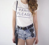 top,paris,women t shirts,shirt,white,white t-shirt