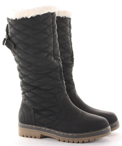 WOMENS LADIES FLAT KNEE HIGH CALF QUILTED FUR LINED GIRLS WINTER SNOW BOOTS SIZE | Amazing Shoes UK