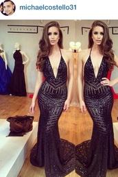 dress,deep plunge neckline,long black dress,embellished dress,backless dress,plunge v neck