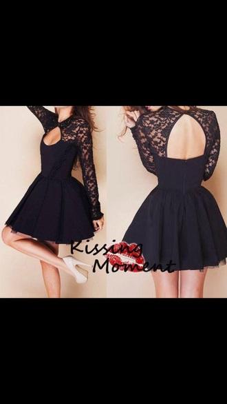 dress black black dress lace dress open back prom dress open front dress cute dress