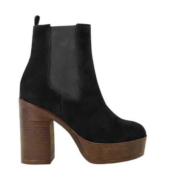 Shoes Black Suede Boots Boots Ankle Boots Wooden Heel