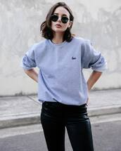 sweater,tumblr,grey sweater,sweatshirt,pants,black pants,black leather pants,leather pants,sunglasses,embroidered