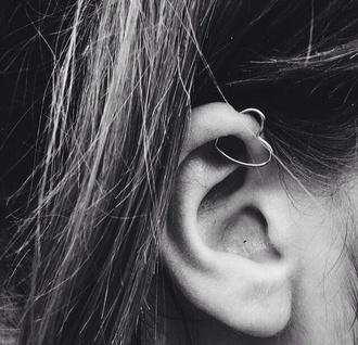 jewels piercing heart silver earrings ear tumblr
