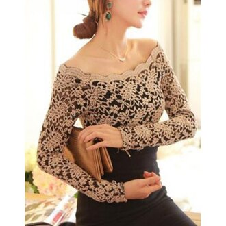 nude top off the shoulder see through black skirt elegant dress top lace long sleeves