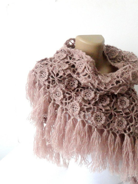 scarf tea rose stole bride accessories moms gift shawl rose gold flowers crochet wrap stockings winter outfits spring outfits bridal fashion handmade best gifts workout clothes etsy
