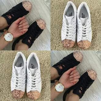 shoes black white addias shoes gold front