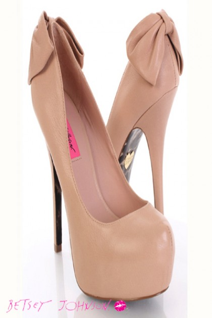 Leather Closed Toe Bow Back Platform Pump Heels @ Amiclubwear Heel ...