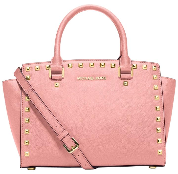 1ea0aaa51050 Michael Kors Selma Medium Studded Saffiano Leather Pale Pink Satchel