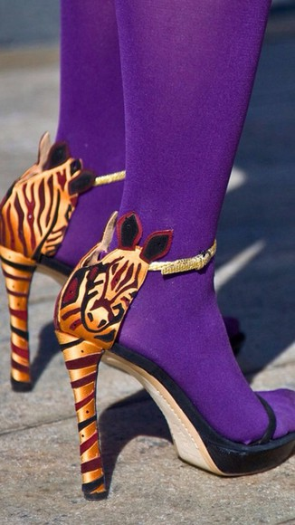 shoes high heels purple zebra summer animal print