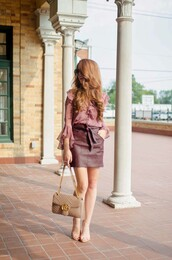skirt,mini skirt,leather skirt,blouse,sandals,gucci bag,blogger,blogger style,shoulder bag