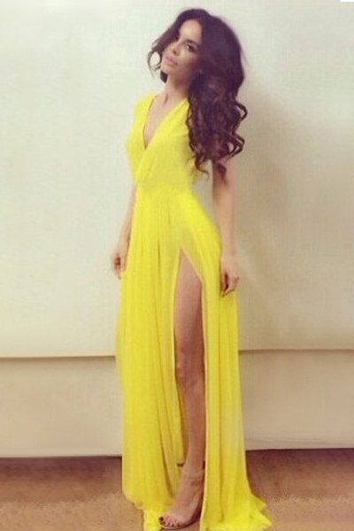 Cheap sexy v neck tank sleeveless drapes design side split yellow chiffon floor length dress