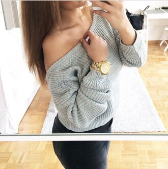 sweater grey sweater grey gold watch fashion jeans black jeans black and white cotton basic comfy warm winter sweater winter outfits fall sweater fall outfits off the shoulder sweater jewels