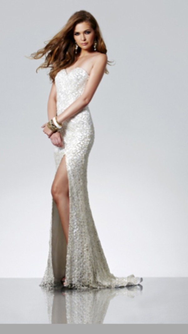 dress prom dress white dress lace dress white lace dress slit dress