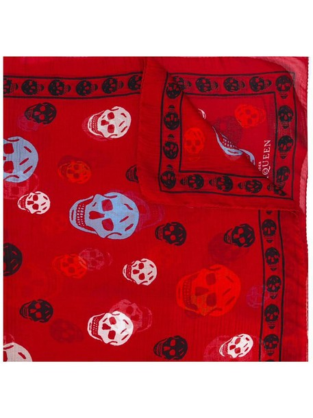 Alexander Mcqueen skull women scarf silk red