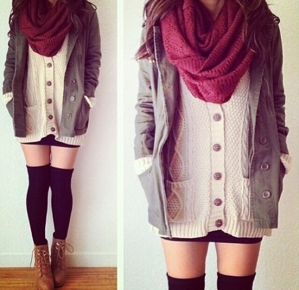 coat utility jacket scarf shorts shoes jacket underwear sweater
