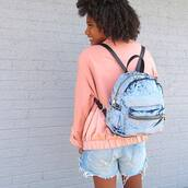 bag,tumblr,backpack,velvet,velvet backpack,jacket,pink jacket,shorts,denim,denim shorts