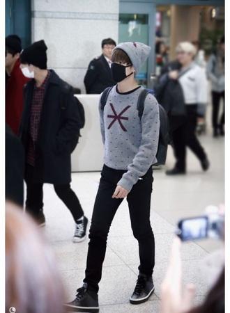 shirt jeans shoes black dark k-pop kstyle korean fashoin bts bangtan boys grey sweater
