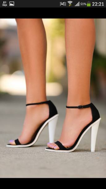sepatusekolah: Black And White Sandals With Heel Images