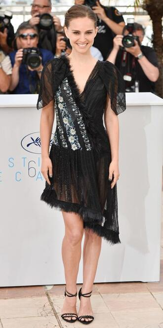 dress asymmetrical natalie portman sandals cannes sheer