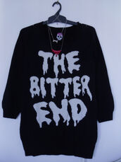 black sweater,knit,the bitter end,sweater,black,knitted sweater,banana fish