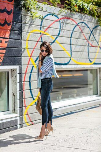 dallas wardrobe // fashion & lifestyle blog // dallas - fashion & lifestyle blog blogger jeans shoes sweater bag sunglasses stripes button up aviator sunglasses skinny jeans nude heels