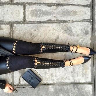 leggings maniere de voir leather suede tie up lace up pants gvp top tom ford chanel leather pants black pants