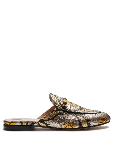 gucci backless jacquard loafers gold black shoes