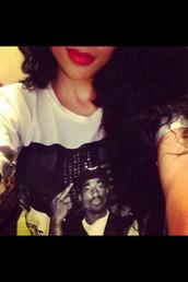 shirt,tupac,red lipstick