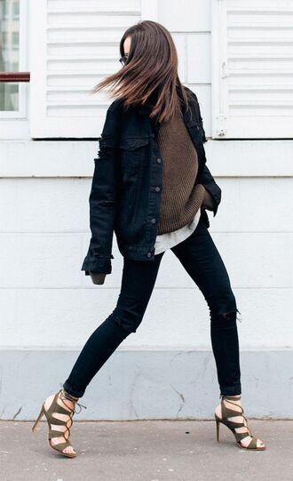 jacket brown sweater black denim jacket black jeans brown strappy heels blogger