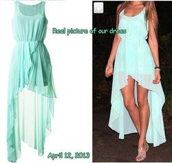 Femmes robe de mousseline, robes asymétriques, vert menthe 2013 fasion robe haute et basse, volants robe sexy