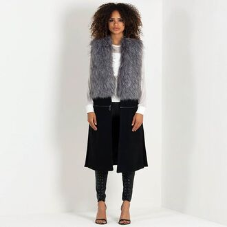 jacket maniere de voir waistcoat sleeveless gilet fur zip zip detail 36683