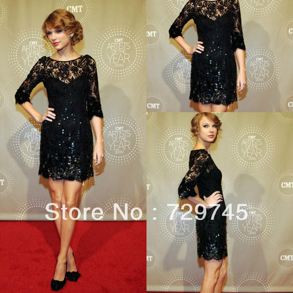 2014 New Sexy Taylor Swift Dress Lace Sheath Scoop Half Sleeve Beading Zuhair Murad  Knee Length Celebrity Dress Prom Dress-in Celebrity-Inspired Dresses from Apparel & Accessories on Aliexpress.com