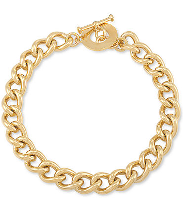 Carolee Necklace, 12k Gold-Plated Chain Link Toggle Necklace - Fashion Jewelry - Jewelry & Watches - Macy's