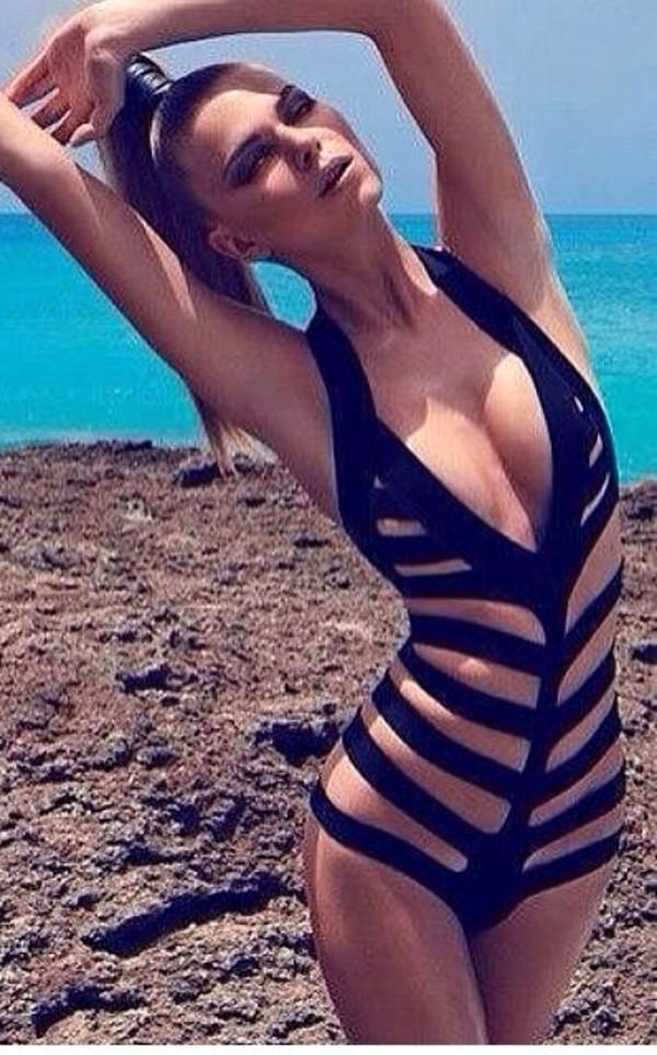 swimwear black one piece swimsuit cut-out slit black swimwear