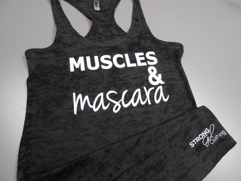 Muscles and mascara shirt. burnout workout tank top. cross training tank top. yellow burnout. blue burnout. green burnout. black burnout.