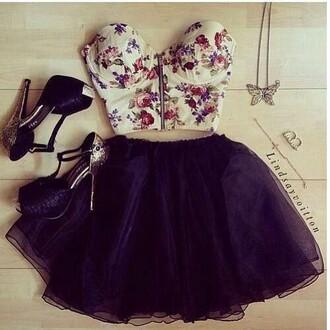 top floral flowers flowered white black skirt tule cute sexy bralette strapless bandaeu