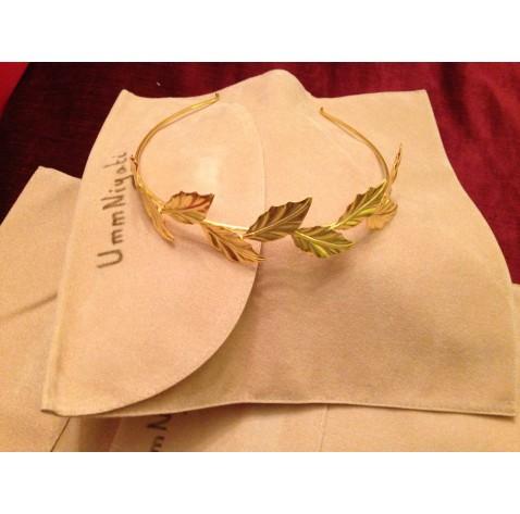 Greek Goddess Tiara, Headband with Brass and Gold Plated Leaves    Ananasa