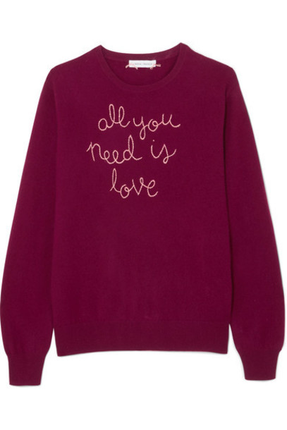 Lingua Franca sweater embroidered love burgundy