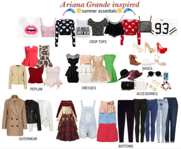 bottoms tank top celebrity shoes clothes celebrity style ariana grande accessories outerwear peplum crop tops dress jeans shorts skirt hat jewels coat jacket